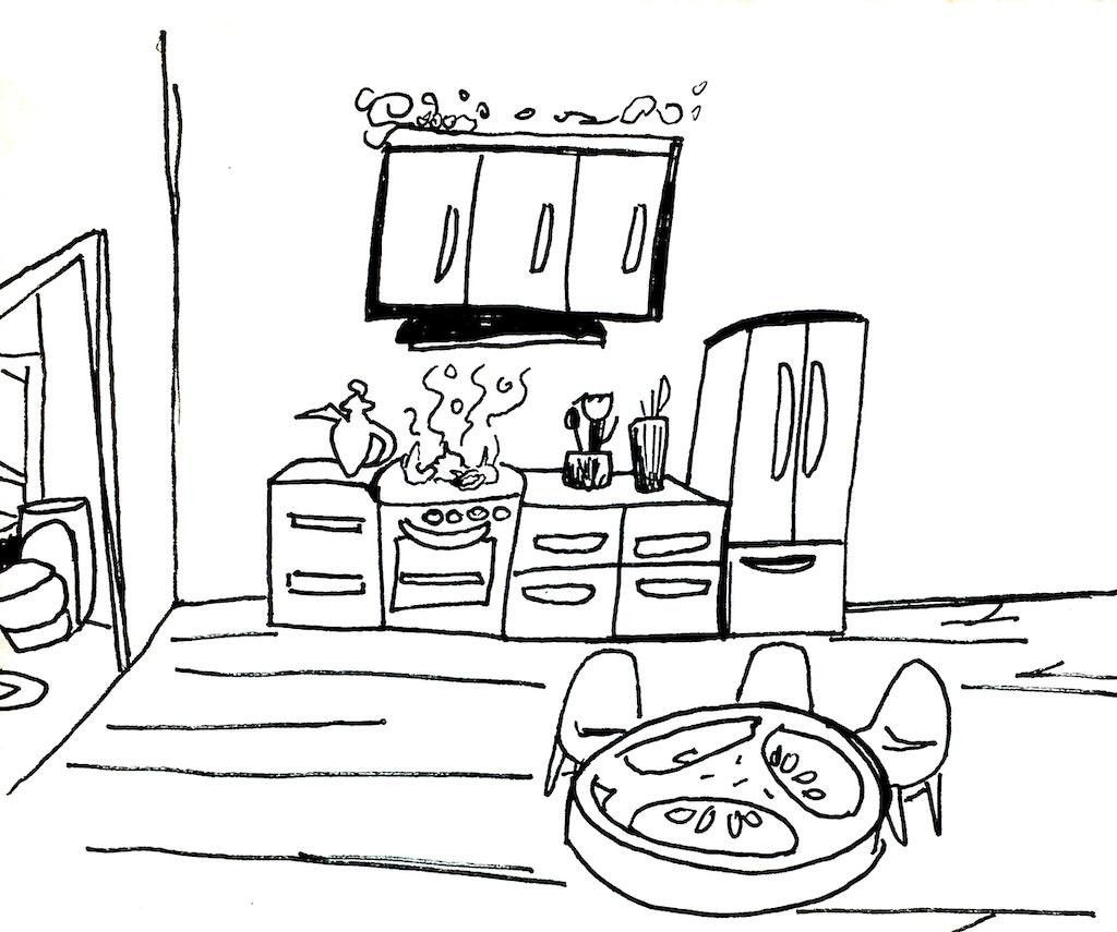Der Gedächtnispalast von innen, die Küche mit der Jalapeno Scheibe als Tisch
