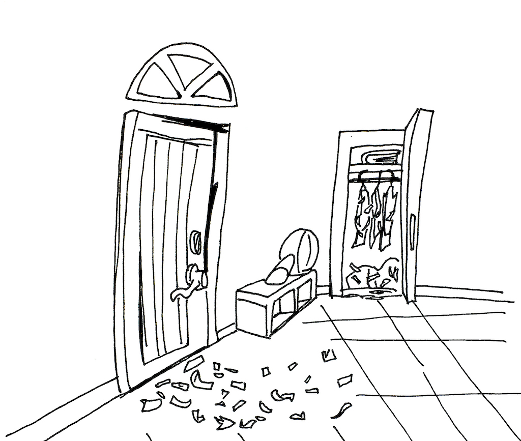 Der Gedächtnispalast von innen, der Garderobenschrank und die Eingangstür