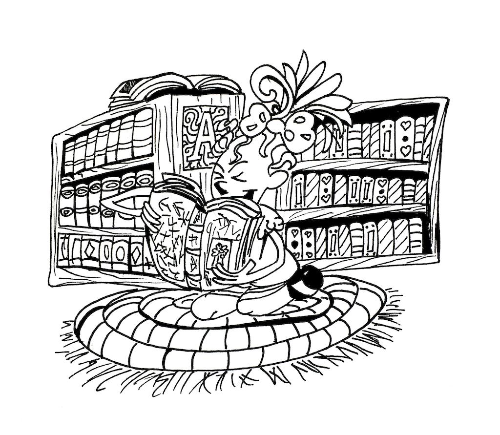 Mädchen beim Bücher oder Texte auswendig lernen